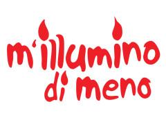 """logo dell'iniziativa di Rai Radio due Caterpillar """"M'illumino di meno"""" per il risparmio energetico e la mobilità sostenibile"""