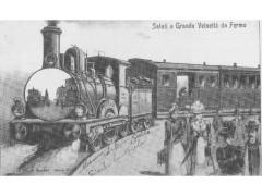 Treno a Fermo: cartolina d'epoca