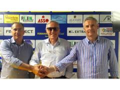 Vice allenatore Rodia, presidente Simoni, mister Destro - Fermana FC