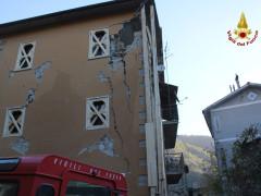 Crolli ed edifici lesionati nelle Marche dopo il terremoto di domenica 30 ottobre 2016