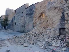 Un crollo a Camerino dopo il terremoto di domenica 30 ottobre 2016