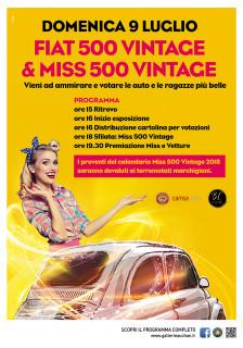 Raduno Fiat 500 e Miss 500 Vintage al Centro Commerciale Auchan Porto Sant'Elpidio - locandina