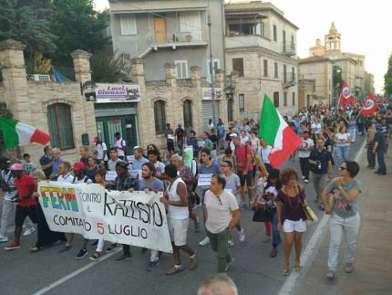 Manifestazione antirazzista a Fermo a un anno dall'uccisione di Emmanuel Chidi Namdi
