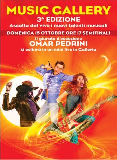 Domenica 15 ottobre al Centro Commerciale Auchan Posto S. Elpidio le semifinali di Music Gallery con Omar Pedrini - locandina