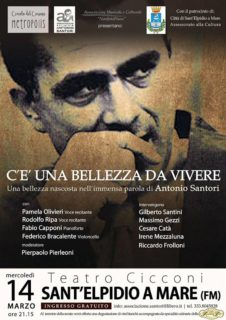 Serata dedicata ad Antonio Santori a Sant'Elpidio a Mare - locandina