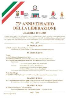 Celebrazioni 25 Aprile 2018 a Fermo e Porto San Giorgio - locandina