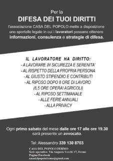 Sportello legale per la difesa dei diritti dei lavoratori a Fermo - locandina