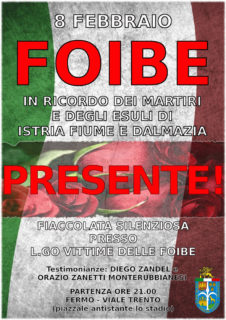 Giornata del Ricordo: a Fermo commemorazione italiani vittime delle Foibe e dell'Esodo - locandina