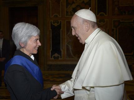 Moira Canigola, presidente Provincia di Fermo e Jorge Bergoglio, papa Francesco