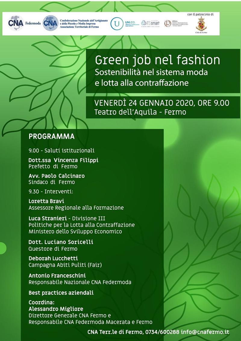 Green job nel fashion - Convegno a Fermo - locandina