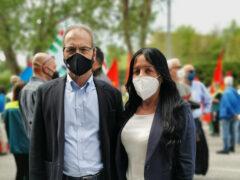 Aguzzi e Marcozzi presenti alla manifestazione a sostegno dei lavoratori Elica